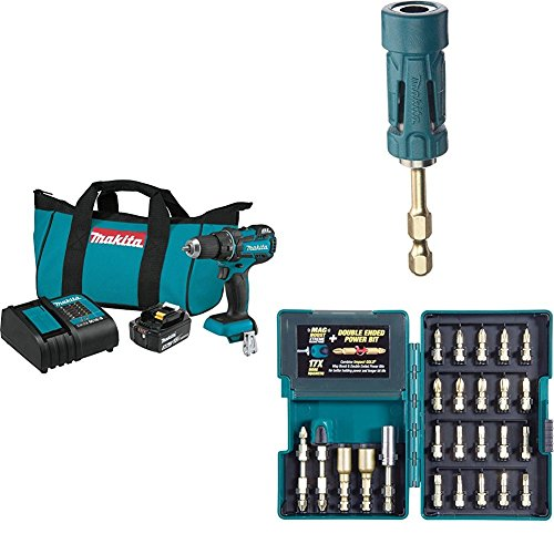 """Makita XFD061 18V LXT Lithium-Ion Compact Brushless Cordless 1/2"""" Driver Drill Kit (3.0Ah) with B-35097 Impact GOLD Ultra-Magnetic Torsion Insert Bit Holder with B-46919 Impact GOLD 26 Pc. Torsion Bit Set"""