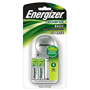 Energizer Recharge Basic Charger with 2 AA NiMH Rechargeable Batteries (included) LED Indicator