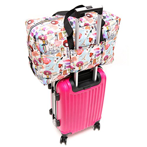 Large Travel Duffel Bag Foldable Large Travel Bag Weekend Bag Checked Bag Luggage Tote 18 Style 21.6IN x 9.8IN x 13.7IN (painting girl)