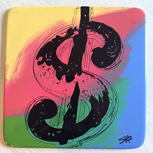original Dollar Sign painting drawing SIGNED COA Plate Andy Warhol ()