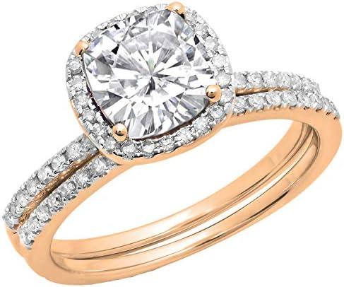 Dazzlingrock Collection Cushion Lab Created White Sapphire & Round Natural White Diamond Bridal Halo Engagement Ring Set, 10K Gold