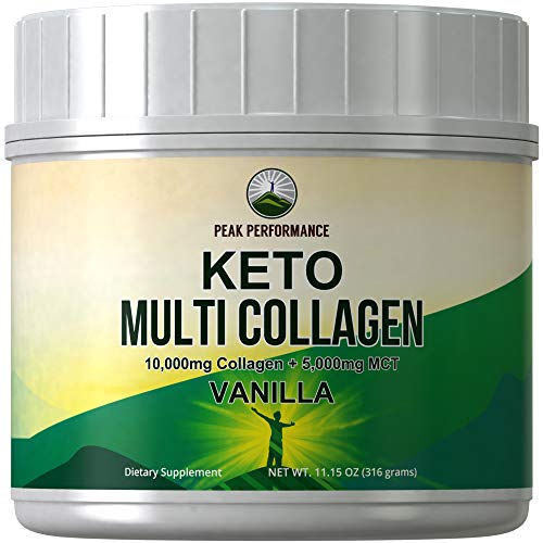 Keto Multi Collagen Vanilla Protein Powder + MCT Oil Powder. Perfect 2:1 Ratio Zero Carb 10,000mg Grassfed Collagen Peptides + 5000mg MCT Oil Powders. Keto Meal Replacement Shake for Ketogenic Diet