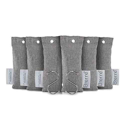 Bierre 50g 6 Pack, 100% Bamboo Activated Charcoal Air Purifying Bags - Eco Friendly Natural Odor Remover - Unscented, Non Chemical - Removes Bacteria, Allergens, Absorbs Moisture, Mold, Mildew