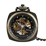 Pocket Watch, Stainless Steel Square Open Face Carved Pattern Steampunk Pocket Watch Gift for Men Women