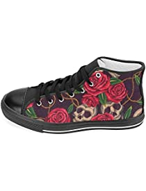 INTERESTPRINT Women's High Top Classic Casual Canvas Fashion Shoes Trainers Sneakers Vintage Skull with Romantic Red Rose Flowers Size 6