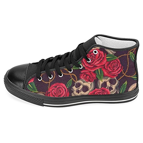 INTERESTPRINT Women's High Top Classic Casual Canvas Fashion Shoes Trainers Sneakers Vintage Skull with Romantic Red Rose Flowers Size 10