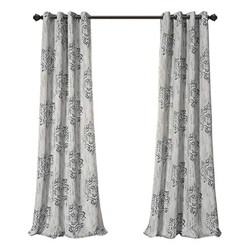 MYSKY HOME Dahlia Flower Damask Style Fashion Design Print Thermal Insulated Blackout Curtain Grommet Top Bedroom, 52 95 inch, Blue - 1 Panel