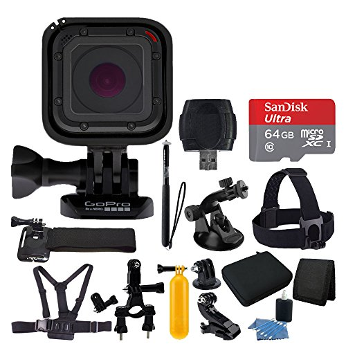 GoPro HERO Session + Medium Carrying Case + Floating Handle + 64GB Micro SD Memory Card + Monopod + Card Reader + Head Strap + Chest Strap + Hand Strap + Suction Cup Mount + Deluxe Accessory Bundle by PHOTO4LESS