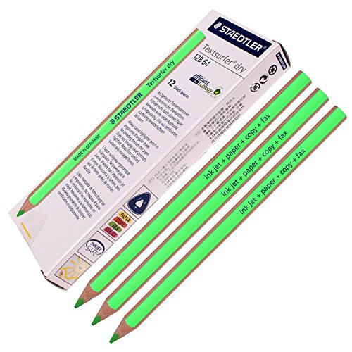 Staedtler Textsurfer Dry Highlighter Pencil 128 64 Drawing for Writing Sketching Inkjet,paper,copy,fax (Pack of 12 Green )