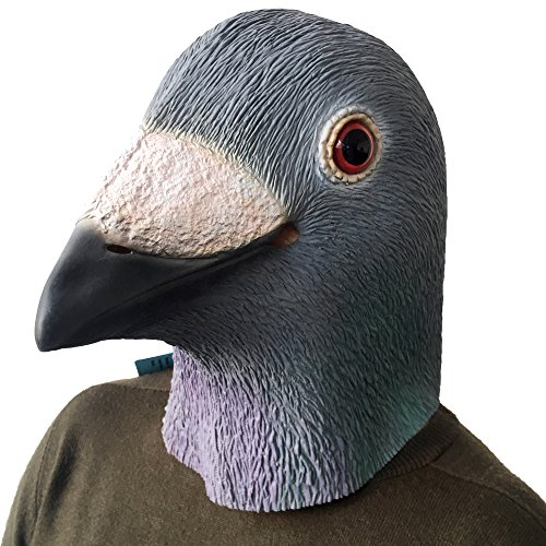Lubber Halloween Party Costume Pigeon Bird Latex Animal Head Mask(Blue) -