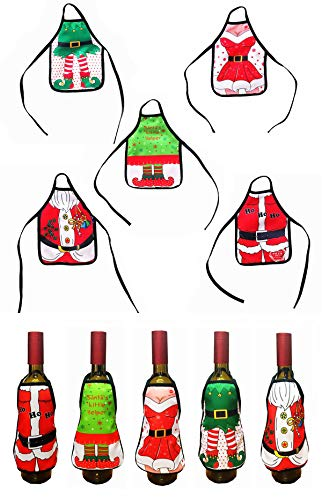 Trinkets Dream 5pcs Mini Christmas Beer Wine Bottle Apron Cover Bag Set Xmas Dinner Table Decors Home Kitchen Cooking Party Holiday Decorations Year Festival Celebrating