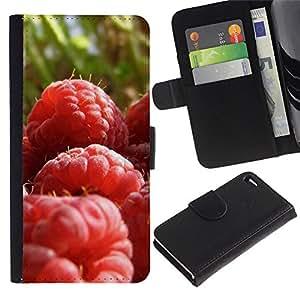 Paccase / Billetera de Cuero Caso del tirón Titular de la tarjeta Carcasa Funda para - Fruit Macro Raspberry Close - Apple Iphone 4 / 4S
