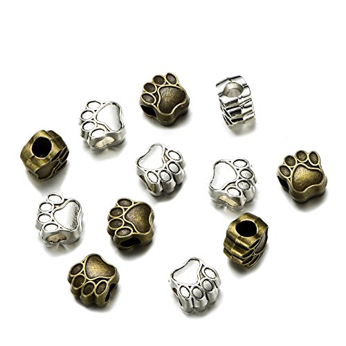 48pcs Vintage Silver Dog Paw Charm Big Hole Loose Spacer Bead For European Bracelet Jewelry Findings Gifts Handmade 11x11mm (48pcs)