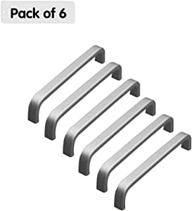 Zhi Jin 6pcs aluminio forma de U tiradores de cajón armario manija Hardware plata conjunto de muebles de armario, 128mm/5Inch: Amazon.es: Hogar