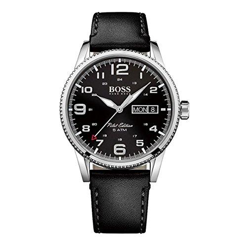 Hugo Boss Pilot Vintage 1513330 Black / Black Leather Analog Quartz Men's Watch