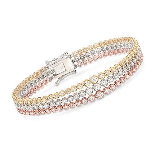 Ross-Simons 4.00 ct. t.w. Diamond Three-Row Tennis Bracelet in 14kt Tri-Colored Gold