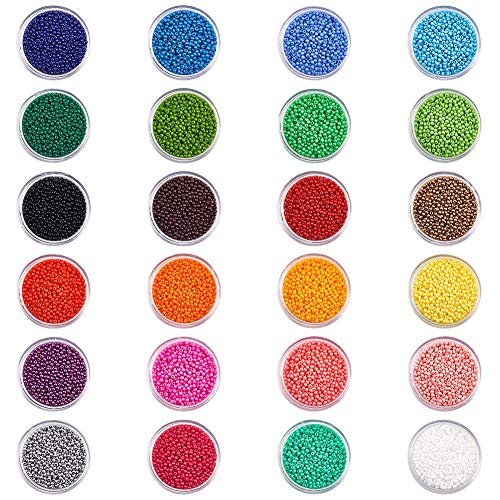 - PandaHall Elite 24 Boxes of About 24000 Pcs 12/0 Multicolor Beading Glass Seed Beads 24 Colors Opaque Round Pony Bead Mini Spacer Beads Diameter 2mm with Container Box for Jewelry Making