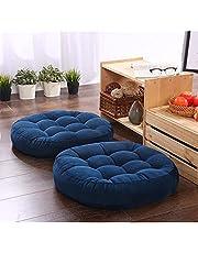 2 Piecefloor Pillow Blue CushionRound Solid Color Floor PillowthickWith Button Decor Seat Cushion Meditation Cushion For Yoga Living Room Sofa Balcony Outdoor