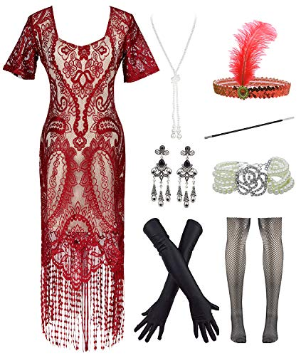 Womens Vintage Lace Fringed Gatsby 1920s Cocktail Dress with 20s Accessories Set (L, Red)