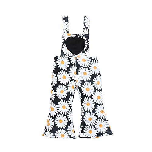 Kehen Kid Toddler Girl Summer Overalls Clothes Straps Backless Daisies Print Jumpsuit Long Pants Outfits (Black,12-18 Months)