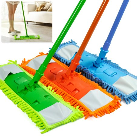 Super Absorbing MicroFiber Dust Mop with Handle Telescoping Pole Floor Cleaner Noodle Mop - Absorbs 3x its Weight