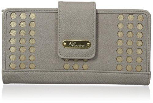 Buxton Women's Hex Laser Cut Medium Metropolitan Wallet, Quarry, One Size