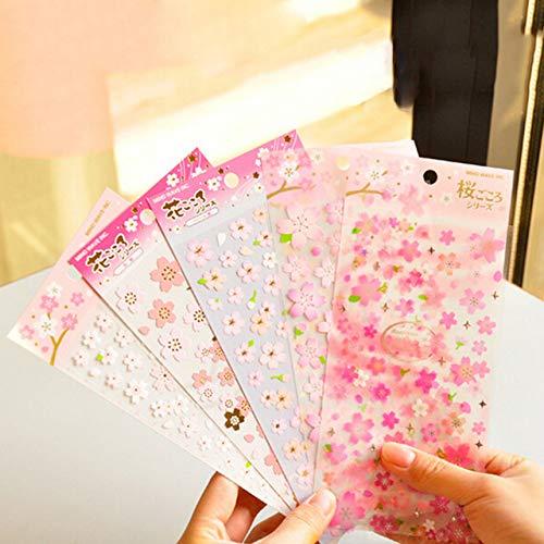 Value-Trade-Inc - Japan style PVC material masking sticker Memo Pad Stickers 1sheet sakura oriental cherry blossom diary deco scrapbooking