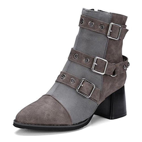 NVXIE Women's Ladies Short Boots Rough High Heel Pointed Toe Suede Belt Buckle Rivet Black Gray Fall Winter Party Work GRAY-EUR39UK665 PIdKP