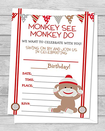 Sock Monkey Invitations (Sock Monkey Birthday Party Invitations, Mod Monkey Fill In the Blanks, Set Of 20, Sock Monkey Invitations With Envelopes, Monkey Party Invites, 4.25