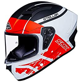 SMK Helmets – Stellar – Squad – White Black Red – Pinlock Anti Fog Lens Fitted Single Clear Visor Full Face Helmet…