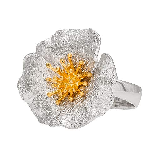Ellen Tracy Sterling Silver Two Tone Flower Ring, Made in ()