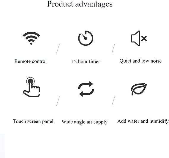 Raffreddamento rapido umidificatore per Ambienti evaporativo Ventilatore per Aria condizionata con Telecomando Esterno//Ufficio FIOFE Raffreddatore dAria per Uso Domestico Timer 12 Ore Bianco