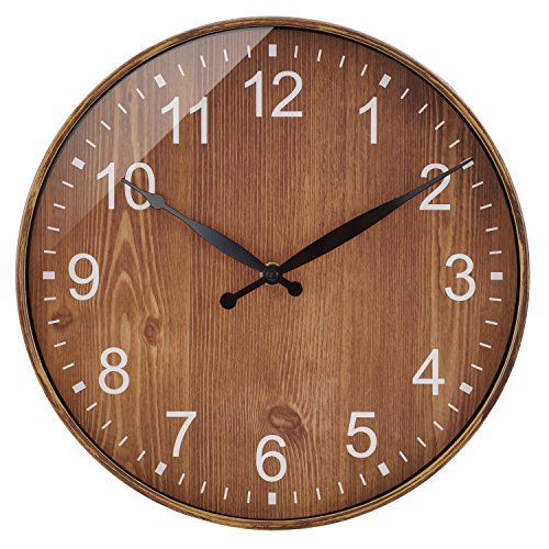 BELIFE 12-Inch Non-Ticking Silent Wall Clock with Wooden Decorative Design,Plastic Shell and Background of Paper-Without A Second Hand