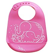 modern-twist Elephant Waterproof Silicone Baby Bucket Bib with Adjustable Strap, Plastic Free, Wipe Clean and Dishwasher Safe, Pink