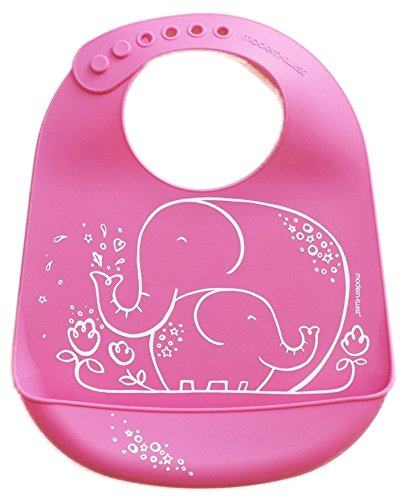 - modern-twist Elephant Waterproof Silicone Baby Bucket Bib with Adjustable Strap, Plastic Free, Wipe Clean and Dishwasher Safe, Pink