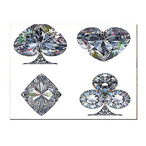 SATVSHOP Wall Art painting-16Lx16W-Diamond Playing Cards Diamonds Hearts Clubs Spad Casino Theme Lucky Charm Art Graphic Dign White Silver.Self-Adhesive backplane/Detachable Modern Decorative. (Gem Plastic Playing Cards)