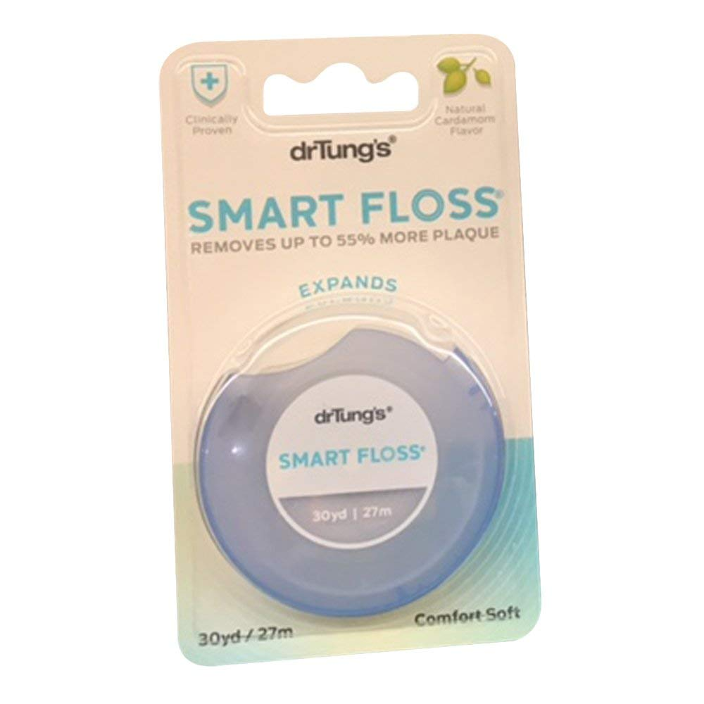 Dr. Tung's Smart Floss, 30 yds, Natural Cardamom Flavor 1 ea Colors May Vary (Pack of 6) by DR TUNG'S