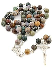 Religious Catholic India Agate Prayer Beads Bless Rosary Necklace Silver Cross 8MM Double Length 16.5inch