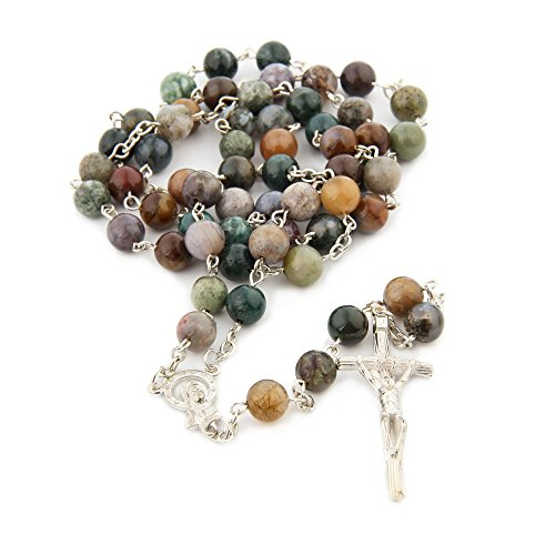 Religious Catholic India Agate Prayer Beads Bless Rosary Necklace Silver Cross 8MM Double Length - India Shop