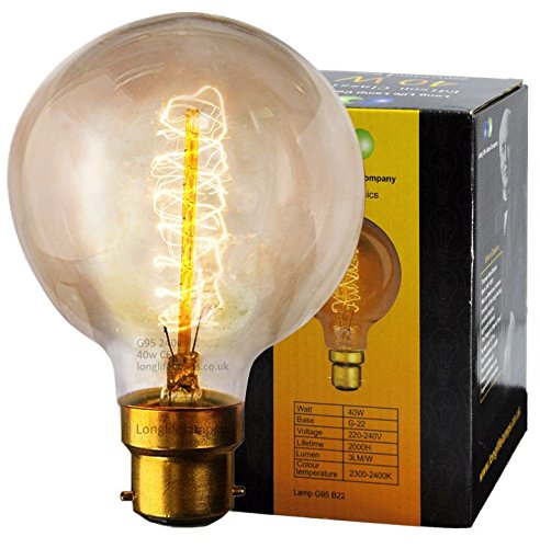 vintage light bulb retro edison style b22 bayonet spiral globe