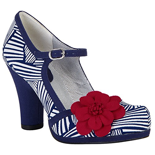 Ruby Shoo Women's Navy White Tanya Mary Jane Pumps UK 6 EU (Blue Suede Shoes Bar)
