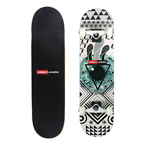 MAGIC UNION 31 Inch Maple Deck Skateboard Longboard Double-Kick Cruiser