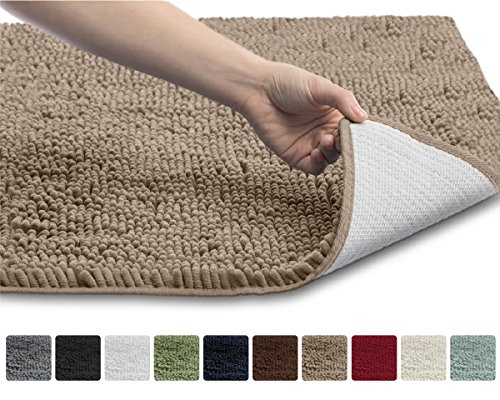 Gorilla Grip The Original Shaggy Chenille Bathroom Rug Mat, 3 Sizes and 10 Colors, Extra Soft and Absorbent, Machine-Washable, Perfect for Bath, Tub, and Shower (Beige, 30