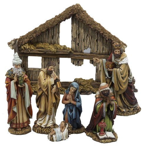 Kurt S. Adler 6-Inch 7-Piece Resin Nativity Set with Stab...