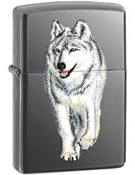 美国产 ZIPPO 打火机 黑冰彩印 Wolf Black Ice 狼图 $17.16