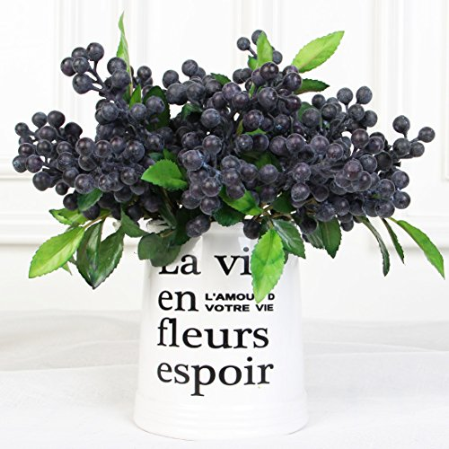 Luyue Rustic Artificial Decorative Blueberry Fruit Silk Flowers For Wedding Home decor,Pack of 7 (Blue)