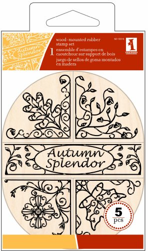 Inkadinkado 5-Piece Autumn Splendor Oval Wood Stamp - Woods Mall North