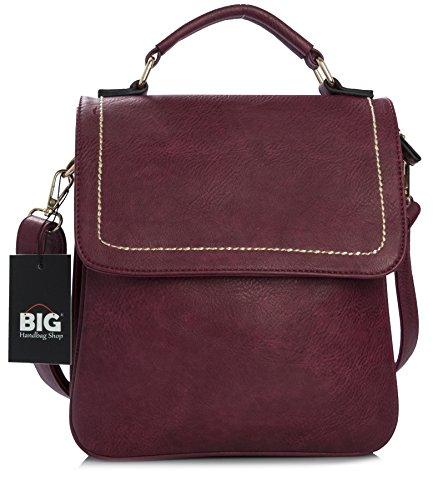 Big Handbag Shop - Bolso al hombro de sintético para hombre One rojo - Wine Red