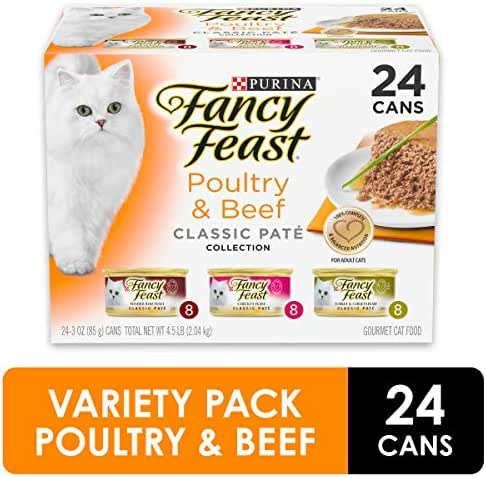 (24 pack) Purina Fancy Feast Grain Free Pate Wet Cat Food Variety Pack, Poultry & Beef Collection - 3 oz. Cans