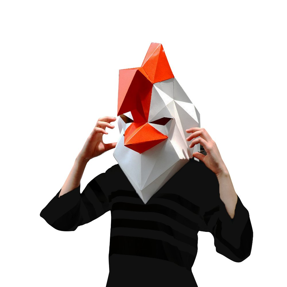 3D Paper Mask Animal Head Molds DIY Halloween Party Costume Cosplay Facial Paper-Craft Kit (Rooster)